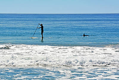 Photograph - Paddle Boarder And Dolphin by Susan Wiedmann