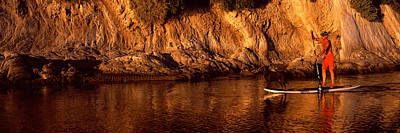 Boarder Photograph - Paddle-boarder In River, Santa Barbara by Panoramic Images
