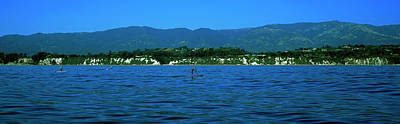 Boarder Photograph - Paddle Boarder In The Ocean, Santa by Panoramic Images