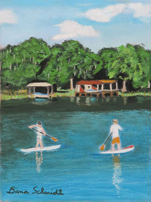 Painting - Paddle Boarding Lake Sue by Dana Schmidt