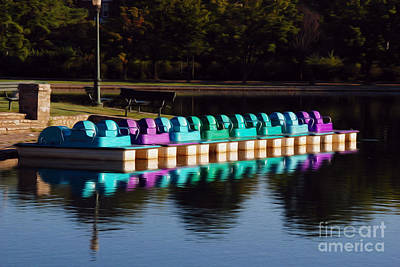Art Print featuring the digital art Paddle Boats by Kelvin Booker