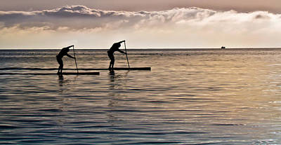 Paddle Surfing Art Print