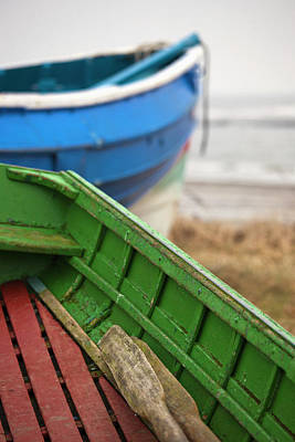 Images Of Ocean Canoes Photograph - Paddles In A Colourful Wooden Rowboat by John Short