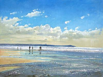 Shimmering Painting - Paddling At The Edge by Timothy  Easton
