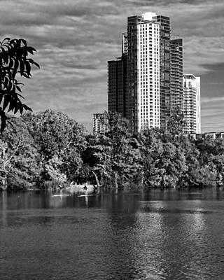 Photograph - Paddling Boarding In Austin Bw by Judy Vincent