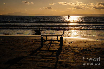 Photograph - Paddling Out Into The Sunset by Dean Harte