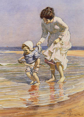 Children On The Beach Painting - Paddling by William Kay Blacklock