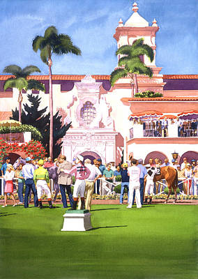 Horse Racing Painting - Paddock At Del Mar by Mary Helmreich
