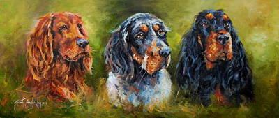 Gordon Setter Art Painting - Paddy The Irishman Paddythe Englishman And Paddy The Scotsman by Jacinta Crowley-Long