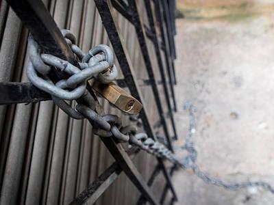 Justin Woodhouse Photograph - Padlock And Chain by Kaleidoscopik Photography