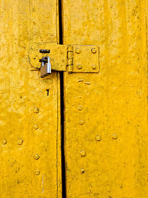 Padlock On An Old Yellow Door Art Print