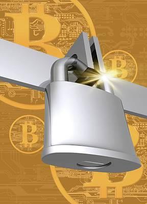 Virtual Photograph - Padlock With Bitcoins by Victor Habbick Visions