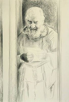 Padre Pio, 1988-89 Charcoal On Paper Art Print by Antonio Ciccone