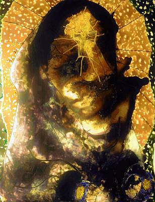 Mixed Media - Padre Pio Glow by Dorothy Berry-Lound