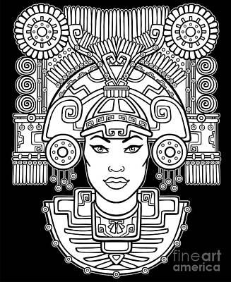 Indian Woman Wall Art - Digital Art - Pagan Goddess. Motives Of Art Native by Zvereva Yana