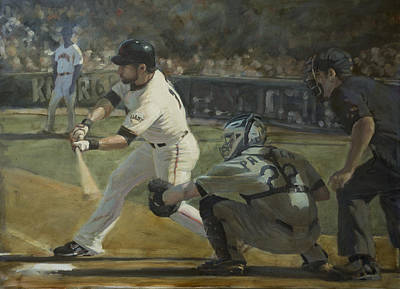 Roberto Painting - Pagan Leadoff Triple by Darren Kerr