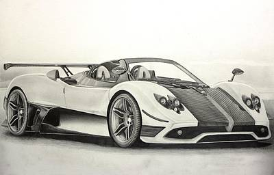 Concept Drawing - Pagani Zonda-r by Gary Reising