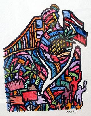 Painting - Pagaruga At Piketlayn Caregiving And Picketlines by Marconi Calindas