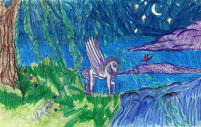 Childrens Art Drawing - Creatures Of The Night by Kd Neeley