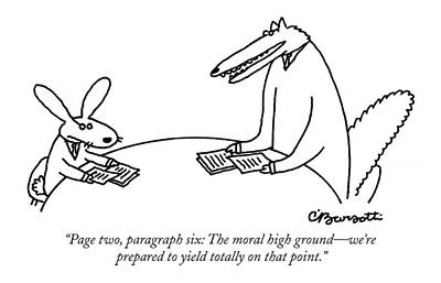 Page Two, Paragraph Six: The Moral High Ground - Art Print by Charles Barsotti