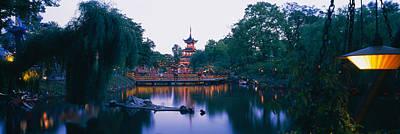 Park Bridge Photograph - Pagoda Lit Up At Dusk, Tivoli Gardens by Panoramic Images