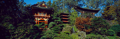 Pagodas In A Park, Japanese Tea Garden Art Print by Panoramic Images