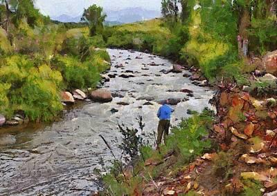 Pagosa Springs Colorado Fisherman Art Print