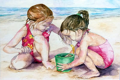 Sand Castles Mixed Media - The Green Bucket by Brian Blackman