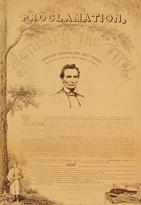 Proclamation Painting - Paine Copy Of The Emancipation Proclamation by Celestial Images