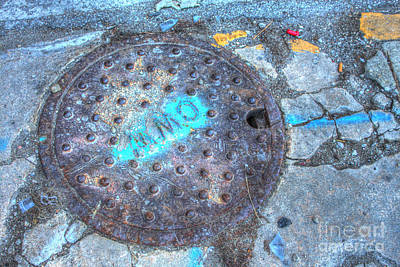 Manhole Photograph - Paint And Rust 21 by Jim Wright