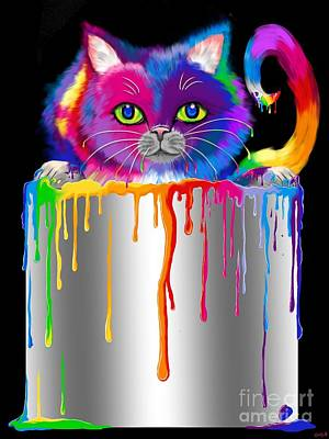 Paint Can Cat Art Print by Nick Gustafson