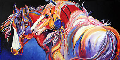 Abstract Equine Painting - Paint Horse Colorful Spirits by Jennifer Godshalk