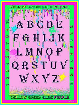 Alphabet Learning Digital Art - Paint Spattered Primary Learning by Mechala  Matthews