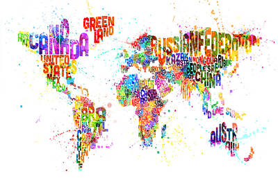 Typography Map Digital Art - Paint Splashes Text Map Of The World by Michael Tompsett