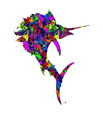 Etc. Digital Art - Paint Splatter Sailfish by Gregory Murray