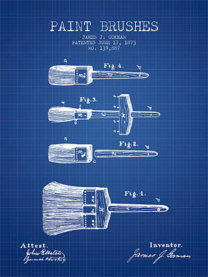 Paintbrushes Patent From 1873 - Blueprint Art Print by Aged Pixel