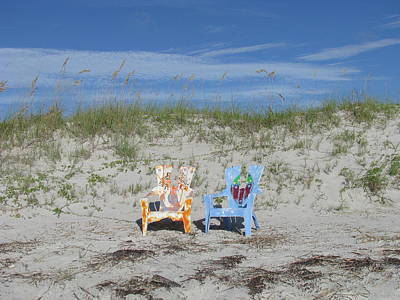Painted Beach Chairs Art Print