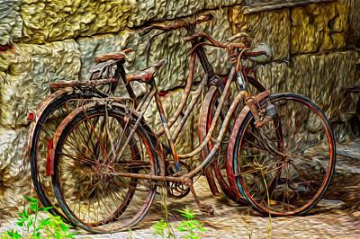 Surreal Barns Photograph - Painted Bikes by Debra and Dave Vanderlaan