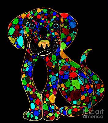 Puppies Digital Art - Painted Black Dog by Nick Gustafson