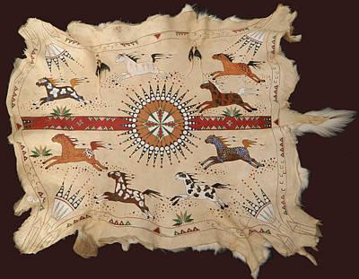 Arapaho Mixed Media - Painted Buffalo Hide And Skins   by Native Arts Trading