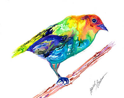 Contemplative Painting - Painted Bunting by Beverly Bronson