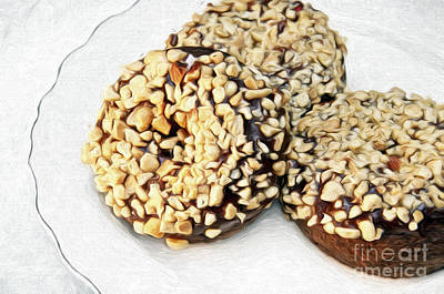 Mixed Media - Painted Chocolate Fudge Nut Donuts by Andee Design