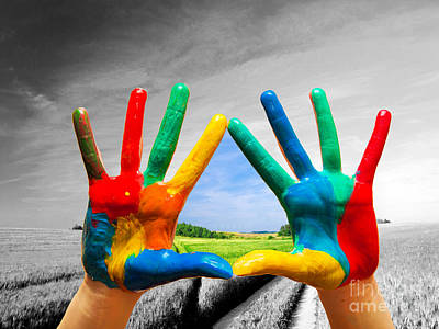 Gaugin - Painted colorful hands showing way to colorful happy life by Michal Bednarek