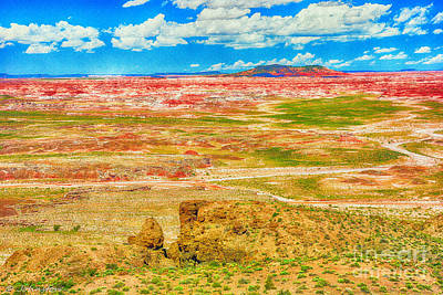 Painted Desert National Park Panorama  Art Print by Bob and Nadine Johnston