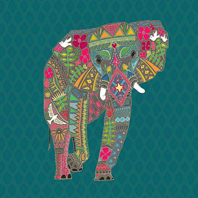 Floral Drawing - Painted Elephant Almas Teal by Sharon Turner