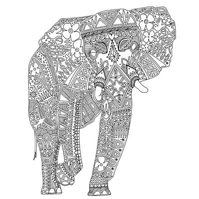 Painted Elephant Black White Art Print