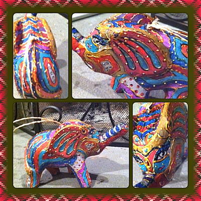 Mixed Media - Painted Elephant by Rae Chichilnitsky
