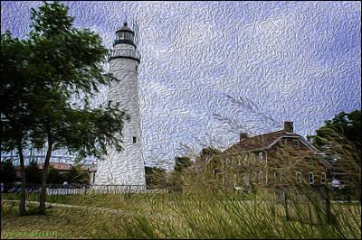 River Photograph - Painted Fort Gratiot Light House by LeeAnn McLaneGoetz McLaneGoetzStudioLLCcom
