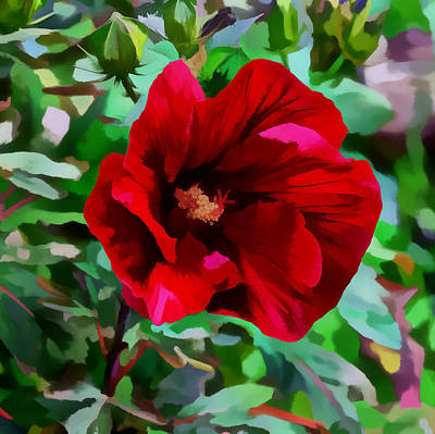 Digital Art - Painted Giant Red Hibiscus by Kathleen Stephens