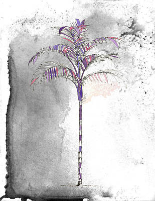 Painted Gray Palm Art Print by Kandy Hurley